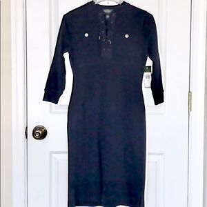 LRL Lauren Jeans Cotton Navy Casual Pocket Dress P